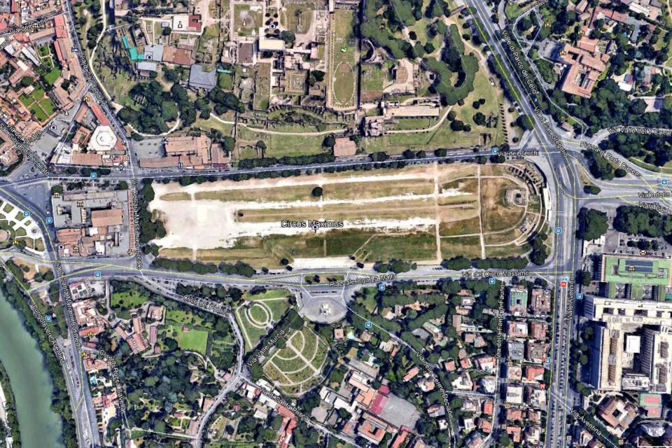 Circus Maximus w Rzymie z satelity (Google Earth)
