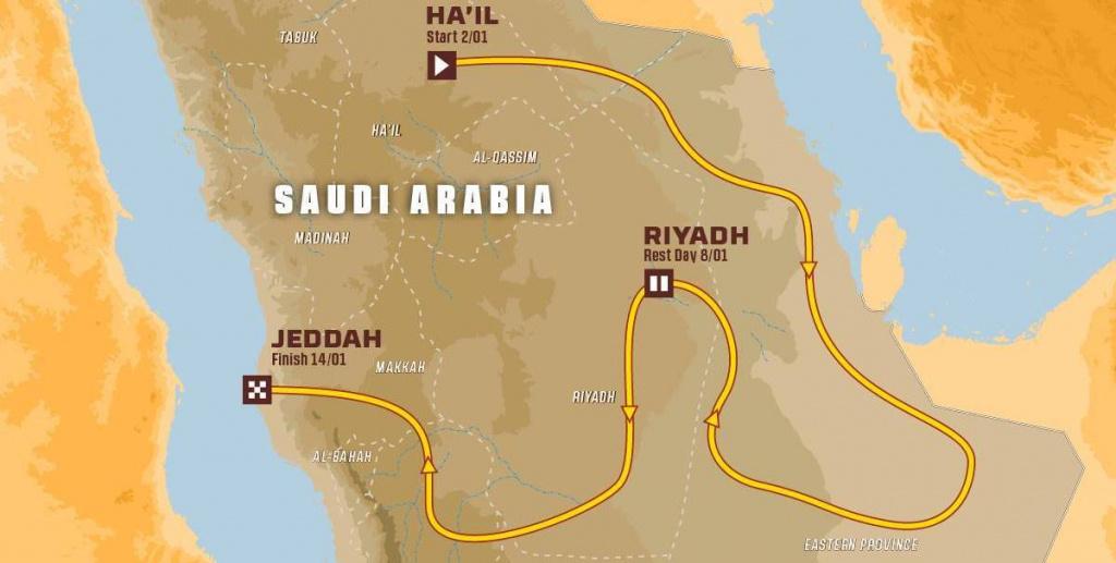 Mapa rajdu Dakar 2022